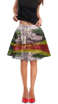 "Юбка в складку ""Замки Испании. Замок Бутрон."" - красный, испания, полоски, крепость, испанский флаг"