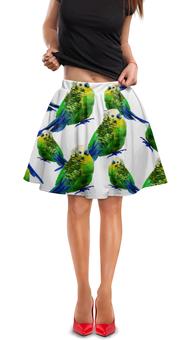 "Юбка в складку ""Попугаи"" - попугаи, птицы, животные, попугай, птички"