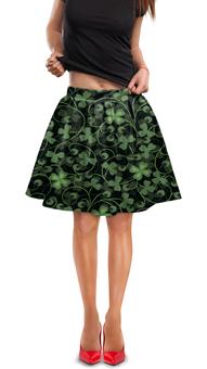 """Юбка в складку """"Клевер"""" - клевер, листья, зеленый, листва, природа"""