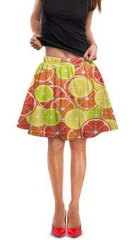 "Юбка в складку ""Цитрусы"" - апельсин, лайм, лимон, грейпфрут, дольки"