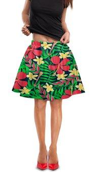 """Юбка в складку """"Тропические цветы"""" - цветочки, листья, природа, цветы, тропики"""