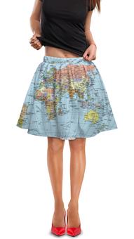 """Юбка в складку """"Карта мира"""" - мир, страны, карта, политика, география"""