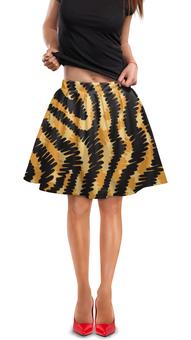 """Юбка в складку """"Тигровый"""" - узор, рисунок, полосы, тигровый, звериный"""