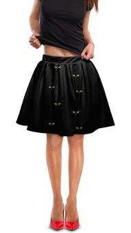 """Юбка в складку """"Кошки 7"""" - рисунок, кошки, зелёные глаза, чёрная кошка"""