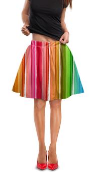 """Юбка в складку """"Цветная радуга"""" - узор, радуга, рисунок, разноцветный, полосатый"""