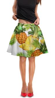 "Юбка в складку ""Ананасы"" - фрукты, рисунок, тропики, ананасы"