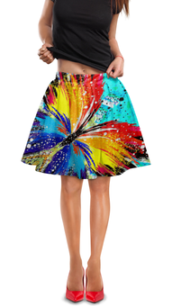 "Юбка в складку ""SAMUR!!!"" - бабочка, стиль, ярко, краски, геометрия"