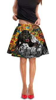 """Юбка в складку """"Черный Тигр"""" - кот, граффити, черный, тигр, урбанистический"""