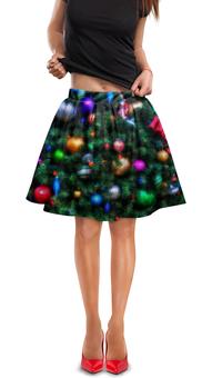 """Юбка в складку """"Нарядная елка (живопись)"""" - игрушки, рождество, огни, елка, новый года"""