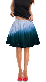 """Юбка в складку """"Лесной пейзаж"""" - лес, природа, вода, пейзаж, туман"""