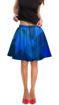 """Юбка в складку """"Синий абстрактный"""" - графика, синий, краски, абстракция, треугольники"""