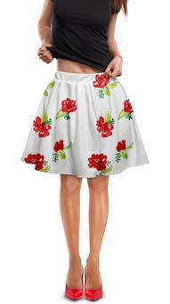 """Юбка в складку """"Юбка Красные цветы"""" - красные цветы, цвести, лето, весна"""