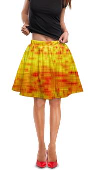 "Юбка в складку ""Текстура"" - желтый, полосы, линии, краски, текстура"