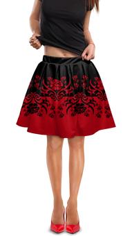 """Юбка в складку """"Красно-черный"""" - цветы, черный, красный, орнамент, половина"""