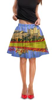 """Юбка в складку """"Средневековой испанский замок Сеговия."""" - голубой, испания, полоски, крепость, испанский флаг"""