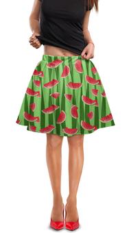 """Юбка в складку """"Арбуз"""" - полоска, красный, зеленый, арбуз, семена"""