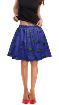 """Юбка в складку """"Листья конопли"""" - растение, листья, синий, конопля, каннабис"""