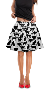 """Юбка в складку """"Кошки"""" - животные, кошки, черно-белый"""