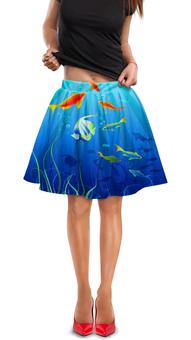 "Юбка в складку ""Коралловые рыбки"" - море, рыбки"