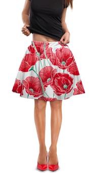 """Юбка в складку """"Красные маки"""" - цветы, ярко, природа, маки, красивые цветы"""