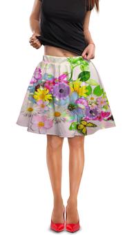 """Юбка в складку """"Цветы"""" - бабочки, цветы, рисунок"""