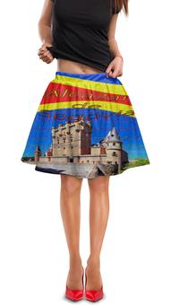 "Юбка в складку ""Замки Испании. Замок Сеговия."" - голубой, испания, полоски, крепость, испанский флаг"