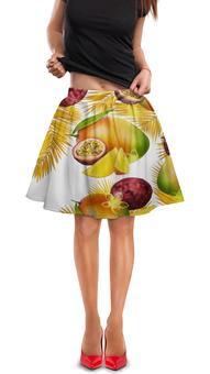 """Юбка в складку """"Тропические фрукты"""" - фрукты, рисунок, тропики, папайя, маракуйя"""