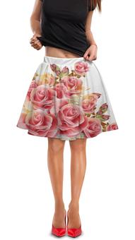 """Юбка в складку """"Букет роз"""" - цветы, розы"""