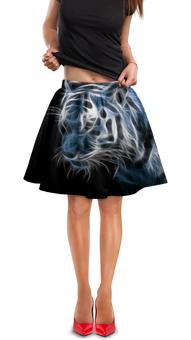 """Юбка в складку """"Энергитический Тигр"""" - рисунок, тигр, энергия"""