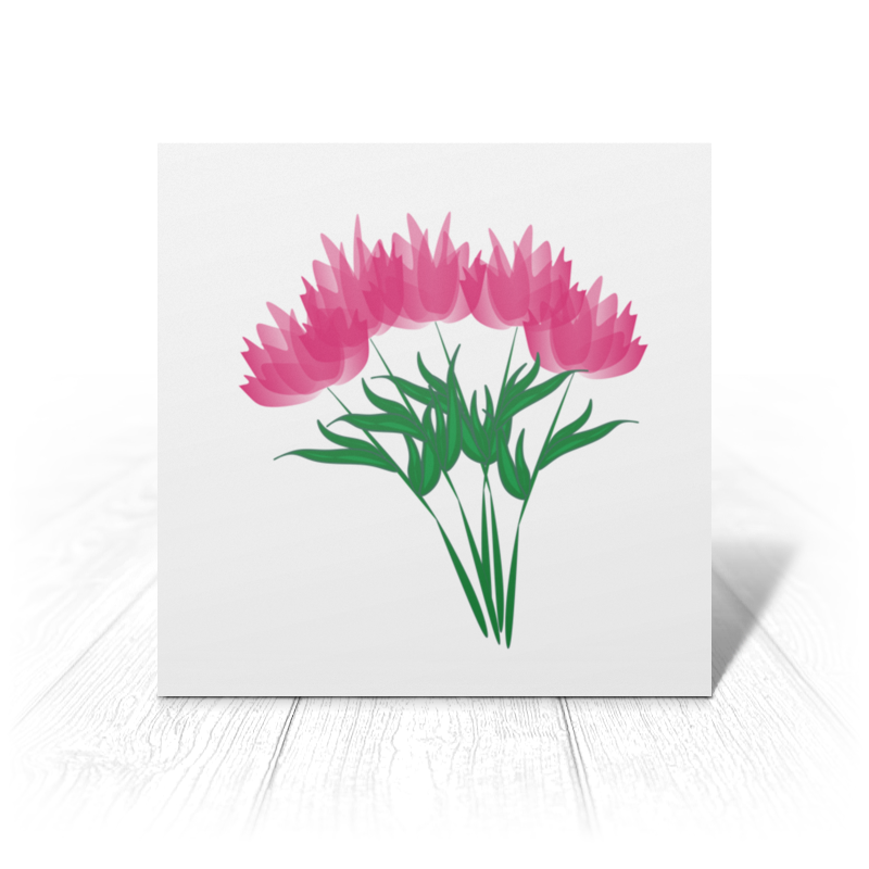 Открытка Printio Розовые абстрактные цветы набор арт открытка