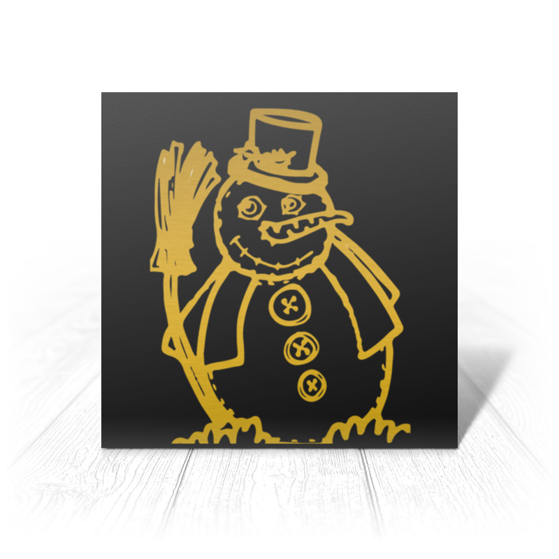 Открытка Printio Золотой снеговик