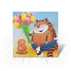 """Открытка """"8 МАРТА. ПРАЗДНИКИ"""" - кот, цветы, надпись, стиль, мультфильмы"""
