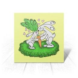 """Открытка """"Зайчишки с морковкой"""" - любовь, подарок, морковка, влюбленность, зайчишки"""