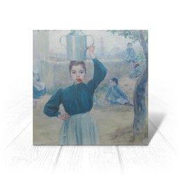 """Открытка """"Деревенская девочка с красной гвоздикой"""" - картина, импрессионизм, живопись, гиард"""