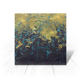 """Открытка """"Abstract"""" - разводы, абстракция, тренд, живопись, золотой"""