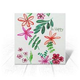 """Открытка """"Цветы на белом"""" - цветы, счастье, цвести, красные цветы"""