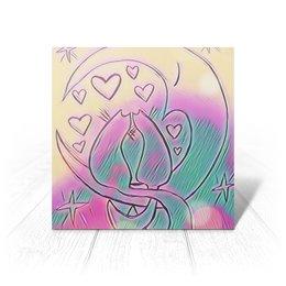 """Открытка """"Влюбленные коты на луне"""" - любовь, день святого валентина, 14 февраля, подарки, день влюбленных"""