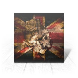 "Открытка ""Череп конфедерата"" - череп, флаг, розы, united kingdom, флаг конфедерации"