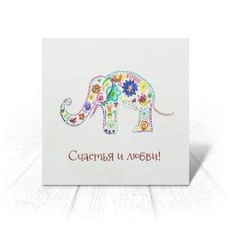 """Открытка """"Слоник"""" - цветы, удача, счастье, слоник"""
