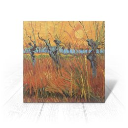 """Открытка """"Обрезанные ивы и закат (Винсент Ван Гог)"""" - картина, пейзаж, ван гог, живопись, постимпрессионизм"""