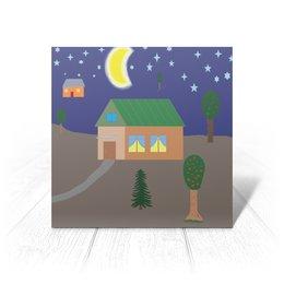 """Открытка """"Рисунок. Добрый вечер"""" - арт, рисунок, дом, деревня, вечер"""