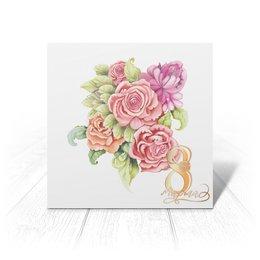 """Открытка """"открытка к 8 марта"""" - цветы, весна, розовый, кораловая, букеты"""