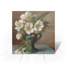 "Открытка ""Пионы в вазе (картина Ханса Зацка)"" - цветы, картина, живопись, натюрморт, зацка"