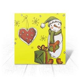 """Открытка """"Снеговик, любовь, подарок."""" - новый год"""