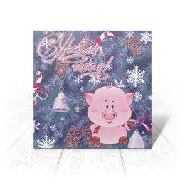 """Открытка """"Новый год"""" - новый год, свинья, 2019"""