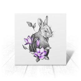 """Открытка """"Кроля"""" - цветы, графика, кролик, милота"""