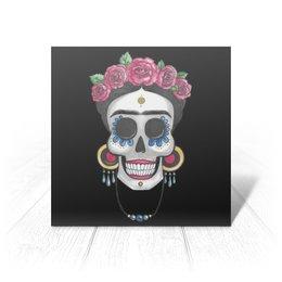 """Открытка """"Фрида"""" - череп, цветы, яркий, розы, фрида"""