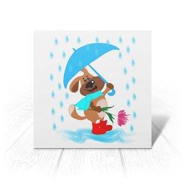 """Открытка """"Пес с зонтом и цветком """" - праздник, цветок, пес, дождь, зонт"""