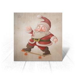 """Открытка """"Санта на доске"""" - новый год"""