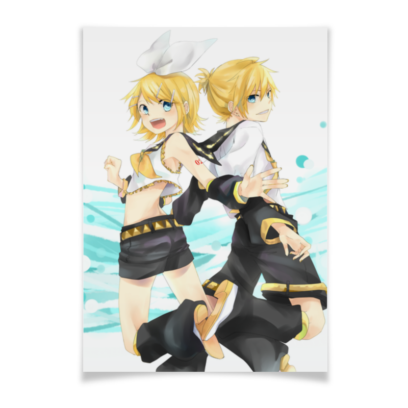Плакат A3(29.7x42) Printio Rin and len 2017 anime vocaloid kagamine rin ren len cafe maid dress cosplay costume o